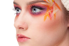 Fashion woman with face art in knitting style Royalty Free Stock Photography