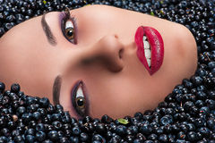 Fashion woman face in blueberries Stock Photography