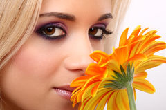 Fashion woman with flower Royalty Free Stock Photography