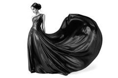Fashion woman in fluttering dress. BW image. Isolated Royalty Free Stock Photos