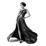 Fashion woman in fluttering dress. BW image. Isolated Stock Photos