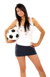 Fashion woman with a football Stock Image