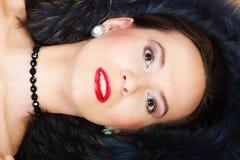 Fashion woman in fur coat, lady portrait. Fashion elegance and beauty. Woman in fur coat beautiful face makeup red lips, lady retro style portrait Stock Images