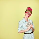 Fashion. Woman in Glasses with Dollar Bill, cash Stock Image