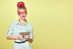Fashion. Woman in Glasses with Dollar Bill, cash Royalty Free Stock Photos