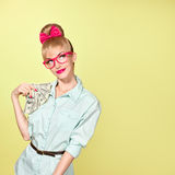 Fashion. Woman in Glasses with Dollar Bill, cash Stock Images