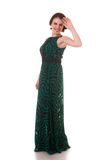 Fashion woman in green dress isolated on white background Royalty Free Stock Photo