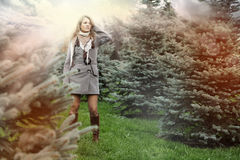 Fashion woman on green fir Stock Images