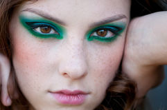 Fashion woman with green make-up at rural location Royalty Free Stock Photos