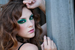Fashion woman with green make-up at rural location Royalty Free Stock Images