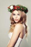 Fashion Woman in Green Wreath Royalty Free Stock Photo