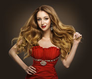 Fashion Woman Hair Style, Model with Long Brown Waving Hairstyle Stock Photo