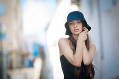 Fashion woman with hat Royalty Free Stock Images