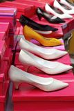 Fashion woman heel shoes in a row Royalty Free Stock Photos
