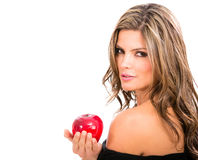 Fashion woman holding an apple Royalty Free Stock Photos