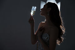 Fashion woman holding glass with cocktail Stock Image