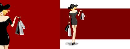 Fashion woman holding shopping bag on red background Stock Photography