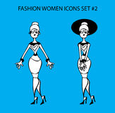 Fashion woman icon doodles tattoo girls part 1 fashionable lady Stock Images