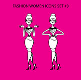 Fashion woman icon doodles tattoo girls part 1 fashionable lady Royalty Free Stock Images