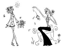 Fashion woman icon doodley tattoo Royalty Free Stock Photo