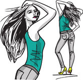 Fashion woman illustration. Fashion woman, illustration made in adobe illustrator Stock Photography