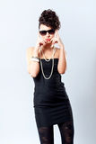 Fashion Woman In Black Dress Royalty Free Stock Photography