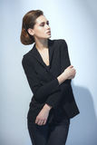 Fashion Woman In Black Suit Stock Images