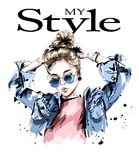 Fashion woman in jeans jacket. Stylish beautiful young woman in sunglasses. Sketch vector illustration