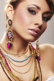 Fashion woman with jewelry Stock Images