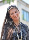 Fashion woman with jewelry. Beautiful young woman wearing jewels. Arabic style Royalty Free Stock Images