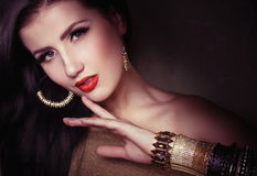 Fashion woman with jewelry bijouterie. Stock Photos