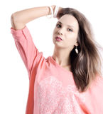 Fashion woman with jewelry on light bacground royalty free stock images