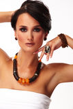 Fashion woman with jewelry on white background Royalty Free Stock Images