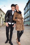 Fashion woman leaning on her lover Stock Photography