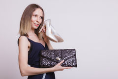 Fashion woman with leather handbag and high heels. Stock Photos