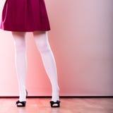Fashion woman legs in white pantyhose Royalty Free Stock Photo
