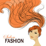 Fashion Woman with Long Hair. Vector Illustration. Royalty Free Stock Photo