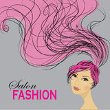 Fashion Woman with Long Hair. Vector Illustration. Stock Images