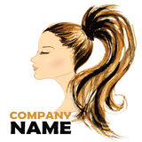 Fashion Woman with Long Hair. Vector Illustration. Royalty Free Stock Images