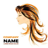 Fashion Woman with Long Hair. Vector Illustration. Stock Photo