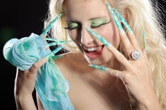 Fashion woman with long nails Stock Photography