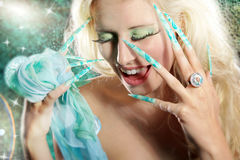 Fashion woman with long nails Royalty Free Stock Photo