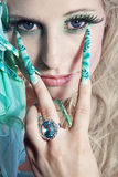 Fashion woman with long nails Royalty Free Stock Photography