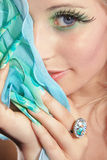 Fashion woman with long nails Royalty Free Stock Images