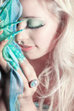 Fashion woman with long nails Stock Images