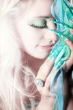 Fashion woman with long nails Stock Photos
