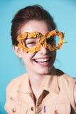 Fashion woman mask sunglasses design decorative portrait Royalty Free Stock Photo