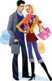 Fashion woman and men. Vector illustration of a woman in jacket and men in coat Royalty Free Stock Image