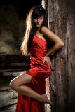 Fashion woman model. Young girl posing in seductive attitude royalty free stock photos