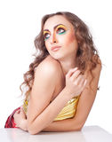 Fashion woman model with bright make-up Royalty Free Stock Photography
